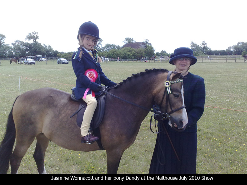 Jasmine Wonnacott and her pony Dandy at the Malthouse July 2010 Show