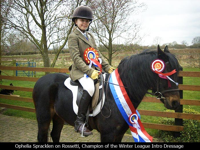 Ophelia Spracklen on Rossetti, Champion of the Winter League Indoor Dressage